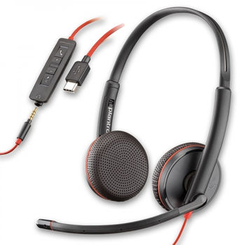 Plantronics Blackwire C3225 (209747-101), USB -A / Jack 3.5mm, Microphone noise-canceling, SoundGuard, DSP, Receive output from 20 Hz–20 kHz, Microphone 100 Hz–10 kHz, Call answer/ignore/end/hold, redial, mute, volume +/-, OEM