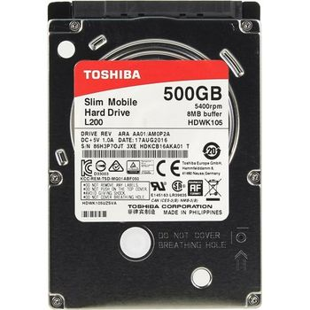 "2.5"" HDD 500GB  Toshiba  L200 HDWK105UZSVA, 5400rpm, 8MB, 7mm, SATAIII"