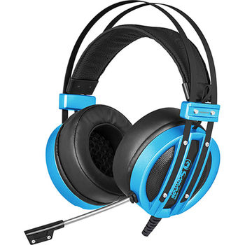 "MARVO ""HG9037"", USB Gaming Headset, Microphone, 50mm driver unit, 7.1 virtual surround sound with USB adapter, Volume control, Adjustable headband, Blue illumination, Braided cable, 2.4m, Blue"