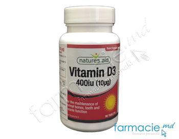 купить Vitamina D3 400iu (10ug) comp.N90 Natures Aid в Кишинёве