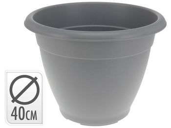 Вазон для цветов пластиковый D40cm, H31cm, серый