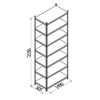 cumpără Raft metalic galvanizat cu placă din plastic Gama Box  1490Wx505Dx2130 Hmm, 7 polițe/PLB în Chișinău