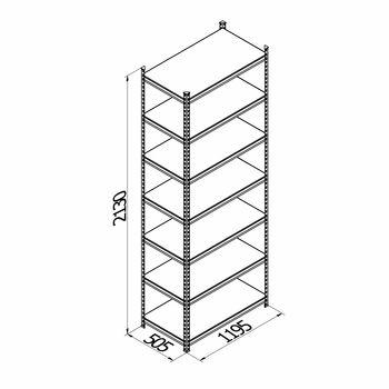 купить Стеллаж металлический с пластиковой плитой Moduline 1195x505x2130 мм, 7 полок/PLB в Кишинёве