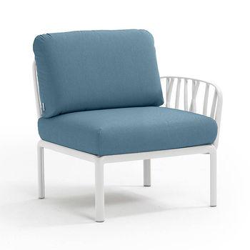 Кресло модуль правый / левый с подушками Nardi KOMODO ELEMENTO TERMINALE DX/SX BIANCO-adriatic Sunbrella 40372.00.142