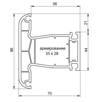 """купить """"Montblanc"""" Quadro Импост (70мм, 2.5мм, Класс Б) с РЕЗИНОЙ в Кишинёве"""