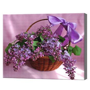 Сирень в корзинке, 40x50 см, aлмазная мозаика
