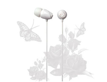 "E11018 ELECOM ""Rose"" Flower Shaped Stereo Headphones (White), 20 Hz to 20 kHz, 16 Ohm, 97 dB/1 mW (mini casti/мини наушники)"