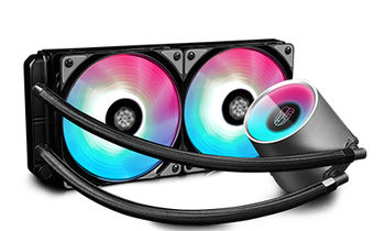 "DEEPCOOL Liquid Cooler  ""CASTLE 240 RGB"", Socket 1150/1151/20xx & TR4/AM4/FM2/AM3, up to 250W, 2x TF120 fan, RGB variable lighting system, fans: 500~1800rpm, pump: 2550rpm, 17.8~30dBA, 69.34CFM, 4 pin, Hydro Bearing, Copper base"