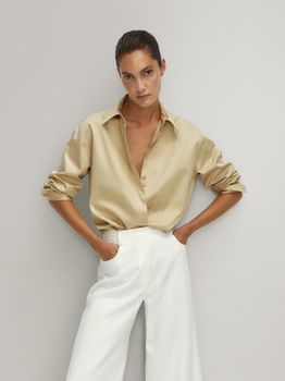 Блуза Massimo Dutti Темно бежевый 5136/530/958