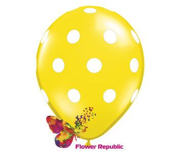купить Воздушный шар желтый  с рисунком Горошек - 30 см в Кишинёве