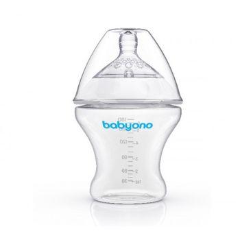 cumpără Biberon Babyono cu tetina din silicon 180 ml (0-6 luni) în Chișinău