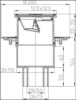 купить Трап ПП с вертик. выпуском DN50/75/110 для балкона /терассы(123x123 нерж) HL310N.2   M в Кишинёве
