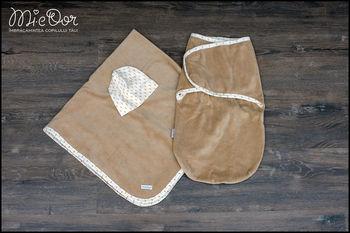 купить Набор Mi-e Dor велюровый (плед,кокон на липучках, шапочка) коричневый в Кишинёве