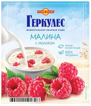 Овсяные хлопья Геркулес с малиной и молоком 35 гр