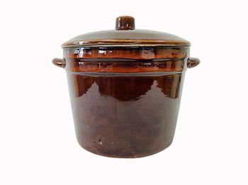 Форма для выпечки глиняная 6l, D25cm высокая, с крышкой
