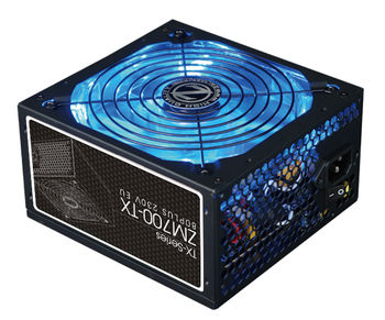 "PSU ZALMAN ""ZM700-TX"", 700W, ATX 2.31, 80 PLUS®, Active PFC, 140mm Quiet Blue LED Fan, Smart Fan Control, Dual Forward Switching,  +12V (53A), 20+4 Pin, 1xEPS(4+4Pin), 5xSATA, 4xPCI-E(6+2pin), 4x Periph., Black"