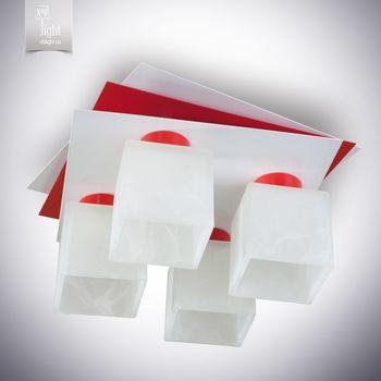 N&B Light Люстра Пиастра 7433-3 белый глянец/красный глянец