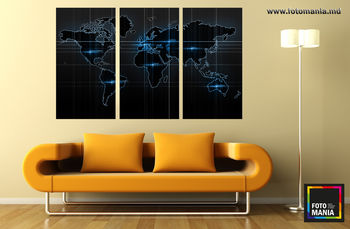 Картина напечатанная на холсте - Триптих Карта мира 0001