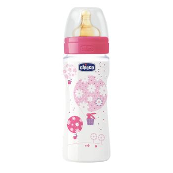 купить Chicco бутылочка пластиковая с латексной соской Well Being Girl, 330мл в Кишинёве