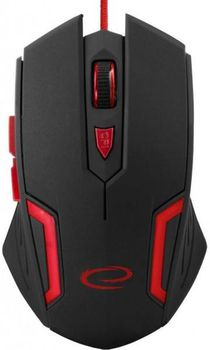 Esperanza FIGHTER MX205 Optical Mouse for professional game players, 6D, 800/1200/1600/2400 DPI, illuminated, USB, Red