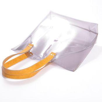 Bază transparentă pentru geantă, cu mânere / Muștar