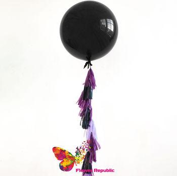 купить Большой латексный черный шар 91 см с гирляндой тассел в Кишинёве
