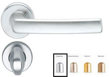 Дверная ручка на розетке USA-F1 серебро + накладка WC