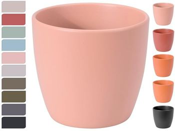 Вазон керамический D12cm, H11cm, разноцветный