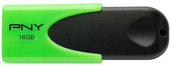 16GB USB2.0 PNY N1 Attache Green/Black, Sliding design, (Read 25 MByte/s, Write 8 MByte/s)