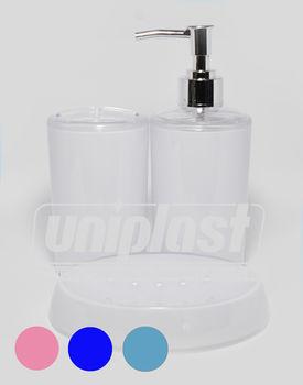 купить Набор 3-аксес.д/ванной, пластик глянец  в ассорт.(кругл) (10233) в Кишинёве