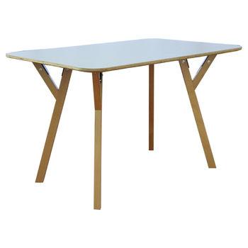 cumpără Masă dreptunghi din lemn, picioare de lemn şi suport din metal 800x1200x750 mm, gri în Chișinău