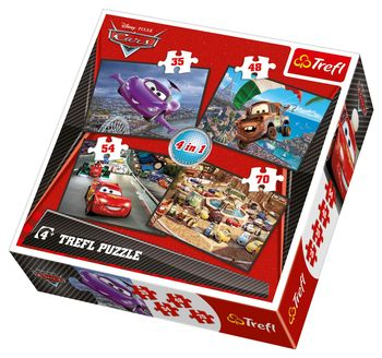 "34107 Trefl Puzzles - ""4in1"" - Set off on a journey / Disney Cars"