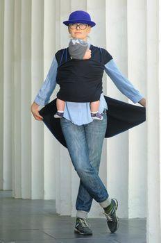 купить WrapBag by Bagy Трикотажный слинг шарф Темно Синий в Кишинёве