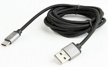 Cable USB2.0/Type-C Cotton braided - 1.8m - Cablexpert CCB-mUSB2B-AMCM-6, Black, USB 2.0 A-plug to type-C plug, blister