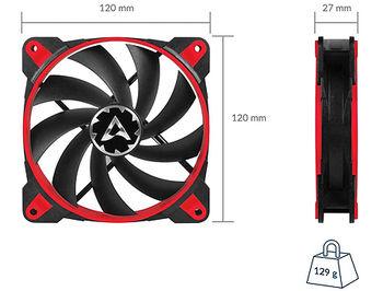Case/CPU FAN Arctic BioniX F120 Red, eSport fan, 120x120x27 mm, 4-pin, 200-1800rpm, Noise 0.5 Sone, 69 CFM / 117 m3/h