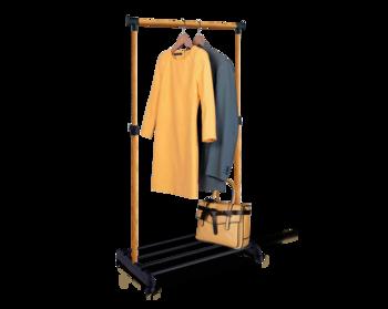 купить Стойка для одежды передвижная на колёсиках чёрный/свет.орех В1-65 в Кишинёве