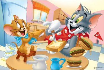 """16196 Trefl Puzzles  - """"100"""" - Delicios braekfast / Warner Tom & Jerry"""
