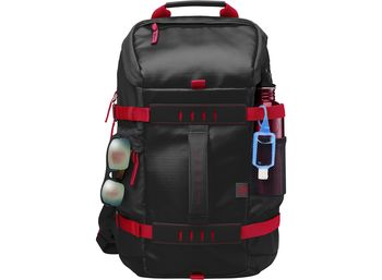 "HP NB Backpack 15.6"" - Odyssey Backpack,Contoured and punctuated with distinctive contrasting external colors, trend-forward design unveils a unique digitized camouflage lining, providing a tactically modern appeal with fashionable durab., Black/Red"