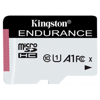128GB microSD Class10 A1 UHS-I FC + SD adapter  Kingston High Endurance, 600x, Up to: 95MB/s, High performance, Seamless recording