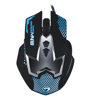 "MARVO ""M418"", Gaming Mouse, 800/1200/1600/2400dpi adjustable, Optical sensor, 6 buttons, 7 colors lights cycling in breathing mode, Laser-carving netlike design, Braided cable, USB, Black"