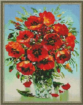 Букет маков в вазе, 40x50 см, алмазная мозаика, 40x50 см, Артукул: QA204703
