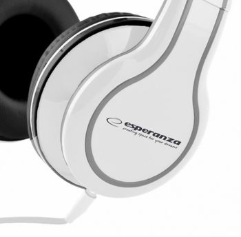 "Esperanza EH136W ""BLUES"" White, Stereo audio Headphones with Volume control, 5 m cable lenght"