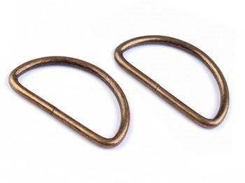 Inel metalic tip D, 38 mm, alamă antică