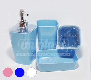 купить Набор 4-аксес.д/ванной, пластик  в ассорт.(квадр) (10234) в Кишинёве