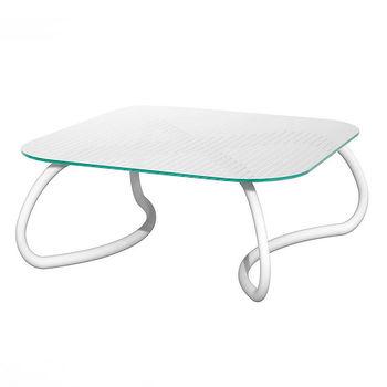 Столик стеклянный кофейный Nardi LOTO RELAX 95 BIANCO vern. bianco 44753.00.000 (Столик стеклянный кофейный для сада лежака террасы балкон)