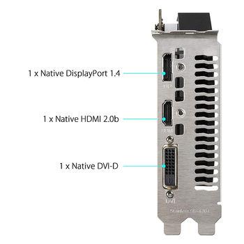 Видеокарта ASUS PH-GTX1650-O4GD6, GeForce GTX1650 4GB GDDR6, 128-bit, GPU/Mem clock 1635/12002MHz, PCI-Express 3.0, DVI/HDMI/Display Port (placa video/видеокарта)