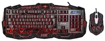 "MARVO ""KM400L"",Backlit Gaming Keyboard&Mouse Combo, Keyboard: 114 keys, 3-color lightings; Mouse: 800/1200/1600/2400dpi adjustable, Optical sensor, 6 buttons, 7 colors cycling in breathing mode, Braided cable, USB, RU layout, Black"