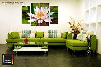 Картина напечатанная на холсте - Триптих из 4 частей  Цветы 0006