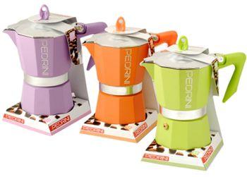 Кофеварка аллюминевая на 3 чашки Pedrini, разных цветов