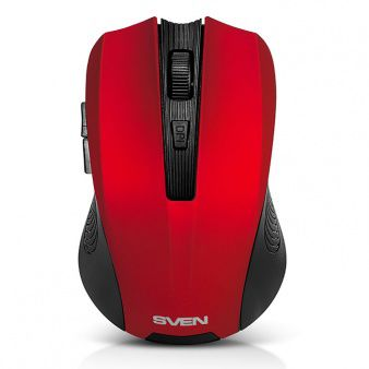 SVEN RX-345 Wireless, Optical Mouse, 2.4GHz, Nano Reciver, 600/1000/1400 dpi, DPI resolution switch, Two additional navigation buttons (Forward and Back), USB, Red